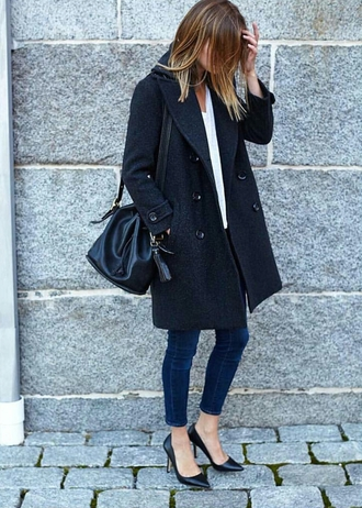 coat tumblr black coat fall outfits top white top work outfits office outfits denim jeans blue jeans pumps pointed toe pumps black pumps bag black bag winter work outfit