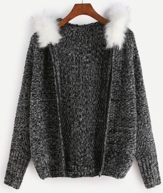 sweater black fur fur hood knit knitted sweater comfy