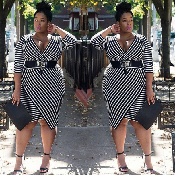 dress, black and white dress, curvy, plus size, stripes, plus size ...