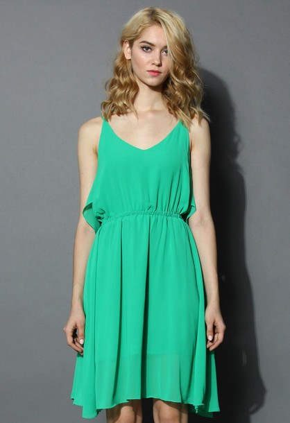 chicwish prime green tirerd cami chiffon dress