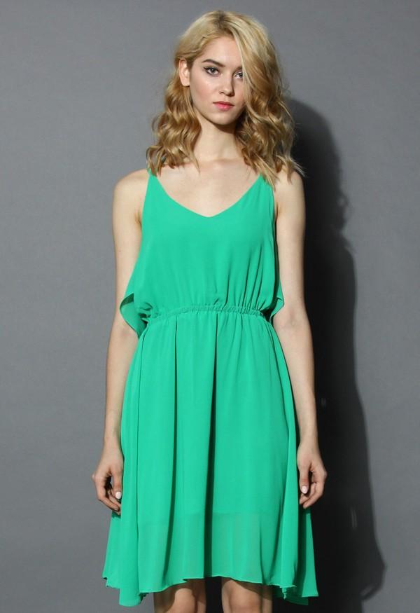 chicwish prime green tirerd cami chiffon dress