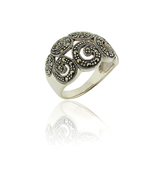 Marcasite Scroll Ring | Silver Ring | Silver Jewellery | Stack Rings | BOHEM