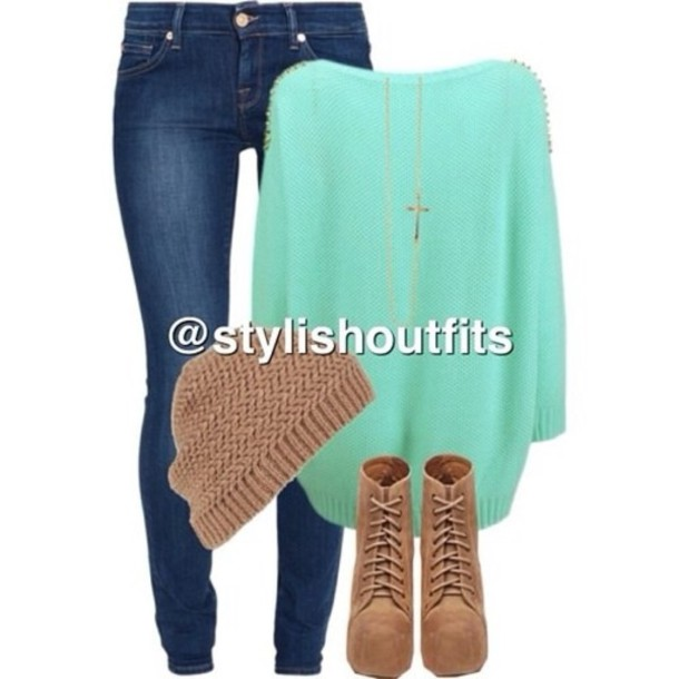blouse blue jeans suade shoes high heels