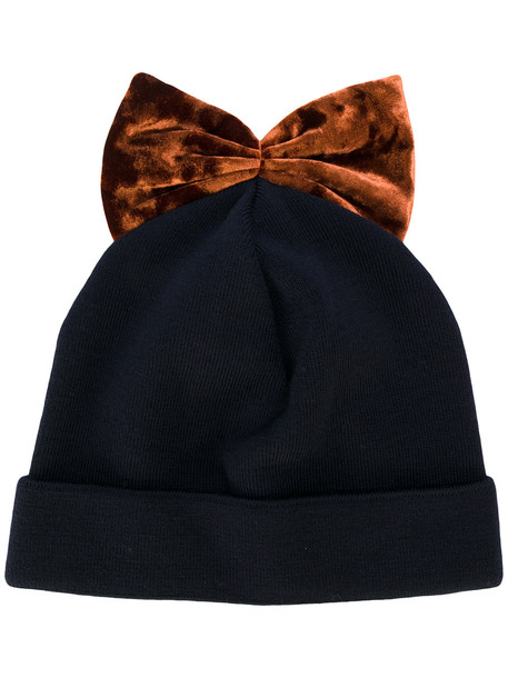bow embroidered hat beanie blue