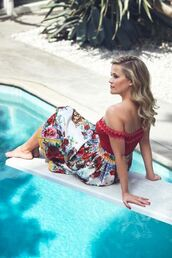 swimwear,off the shoulder,off the shoulder top,red,red swimwear,one piece swimsuit,editorial,skirt,reese witherspoon