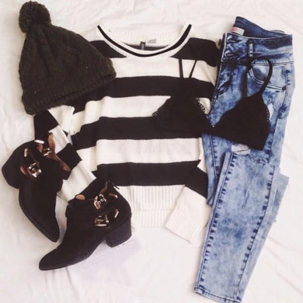 sweater jeans underwear hat shoes