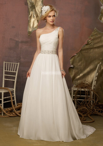 one shoulder gown wedding dress wedding clothes a line bridal chiffon empire empire