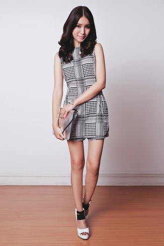 tricia gosingtian blogger jewels checkered sleeveless clutch holographic romper shoes