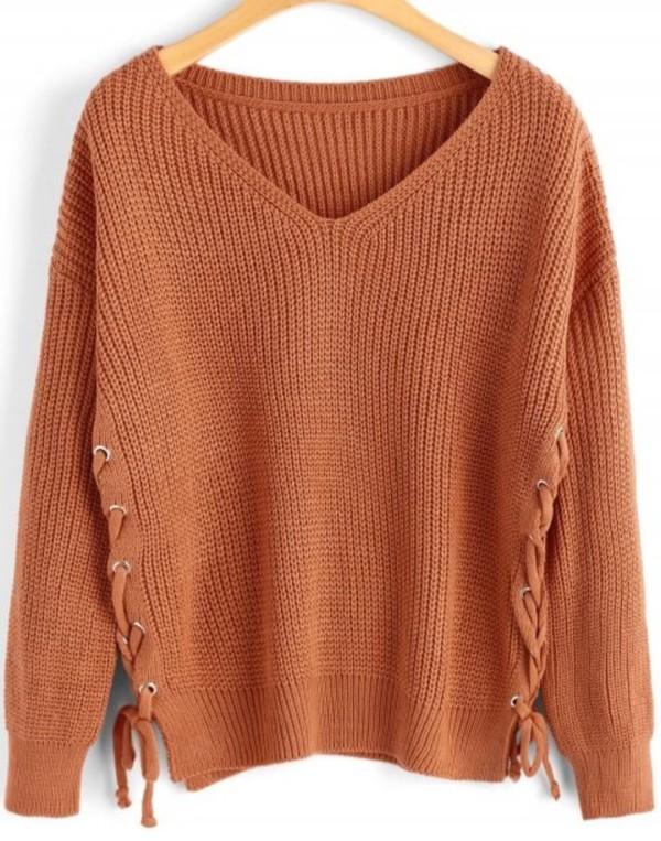 sweater girly sweatshirt jumper v neck knitwear knit knitted sweater