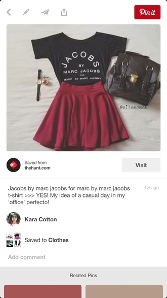shirt black shirt marc by marc jacobs marc jacobs black crop top black blouse skirt red skirt red burgundy red skater skirt burgundy skater skirt skater skirt burgundy skirt