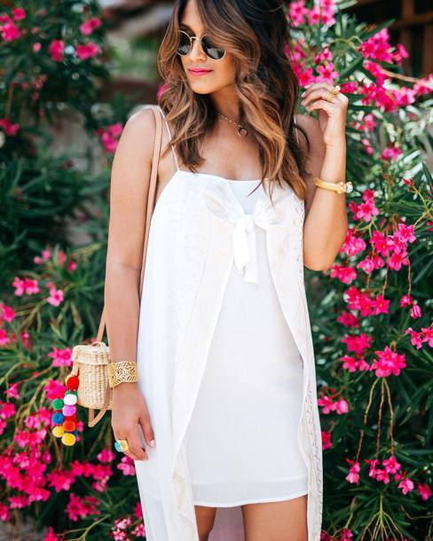 dress tumblr mini dress white dress slip dress bag woven bag basket bag pom poms sunglasses bracelets jewels jewelry gold jewelry accessories Accessory