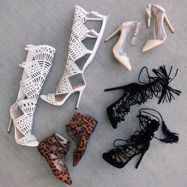81ed0aaf8ad1 shoes white heels gladiator heel white high heels knee high boots knee high sandals  gojane knee