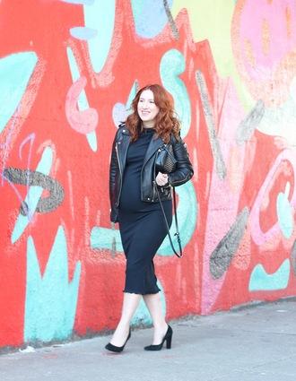 tf diaries blogger dress jacket shoes bag maternity dress maternity black leather jacket midi dress black bag pumps high heel pumps