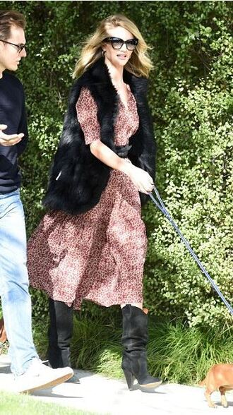 dress rosie huntington-whiteley boots midi dress vest fur vest fall outfits shoes coat
