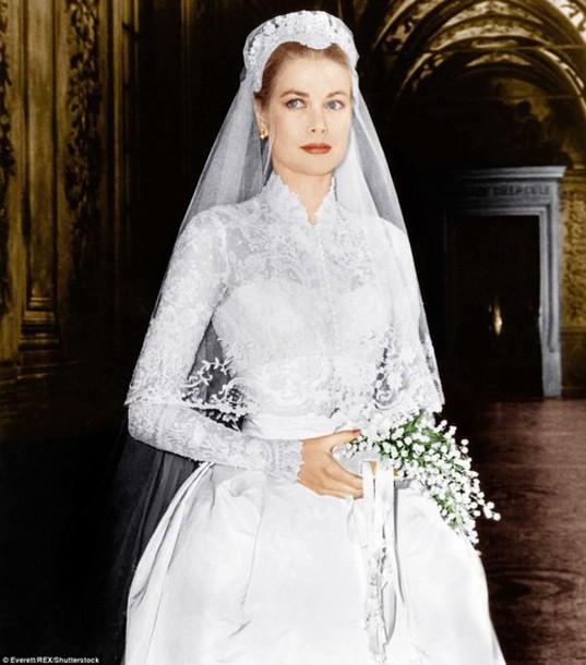 Dress: grace kelly wedding dress, wedding make-up, grace ...