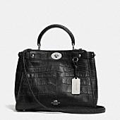 Mini gramercy satchel in croc embossed leather