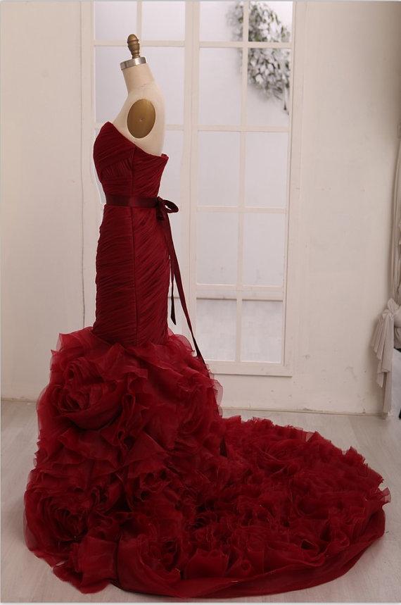 Vera wang inspried wine red burgundy organza mermaid weding dress bridal gown
