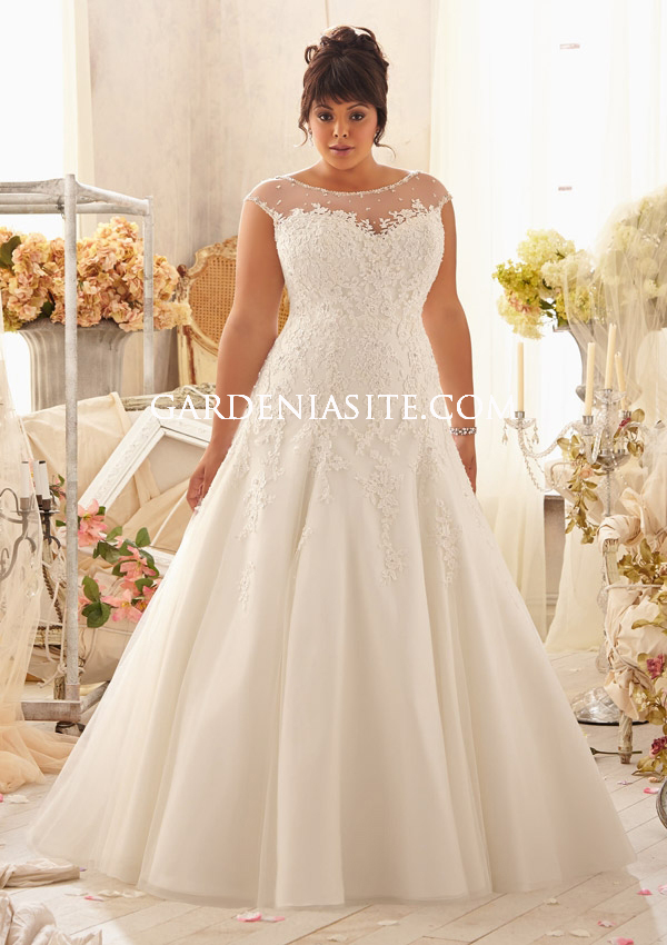 A-line Jewel/Scoop Chapel Train Applique Tulle Plus Size Wedding Dresses2014 - Gardeniasite