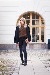 jacket,chaloth,blogger,belt,jeans,shoes,bag