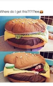 home accessory,haburger couch,burger bed,hamburger,bedding,food,chair,room essentials,bean bag