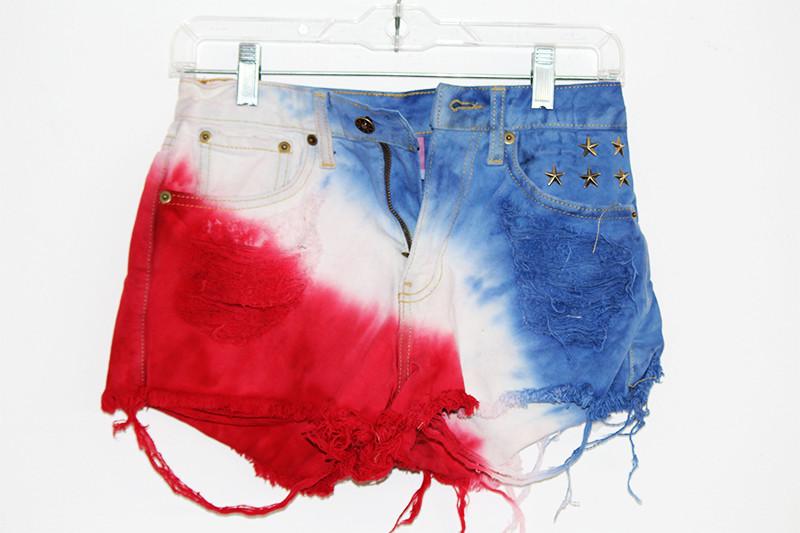 American flag stars & stripes studded cut off shorts