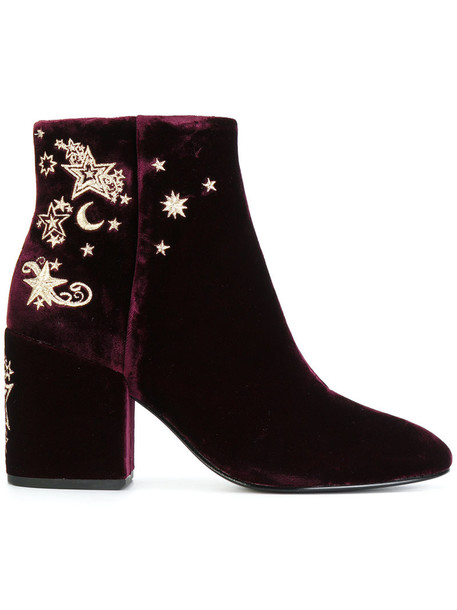 embroidered women ankle boots leather velvet purple pink shoes
