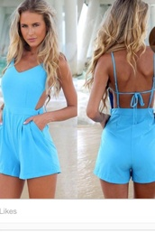 dress,blue playsuit strappy back,open back,jumpsuit,romper,blue,summer,blue dress,blue jumpsuit,clothes,swimwear,straps,cross,gorgeous,shorts,summer outfits,blouse,matt,blue shirt,girly,fashion,dungaree,thecarriediaries,carrie,beach,style,trendy,hot,sexy,bikiniluxe-feb,bikini luxe,high waisted shorts playsuit,romper playsuit,summer fling romper,summer playsuit,bikiniluxe