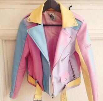 jacket colorblock biker jacket color block jacket leather jacket colorful 90s style pastel