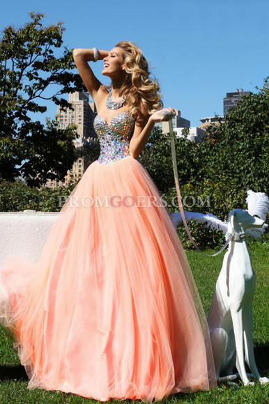 dress ball gown sweetheart tulle beading promgoers.com