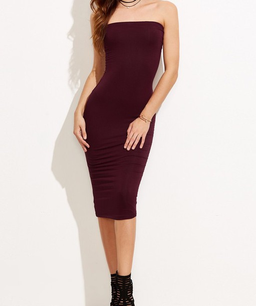 f1f1e75760 dress girly girl girly wishlist burgundy burgundy dress tube dress  sleeveless bodycon dress strapless strapless dress