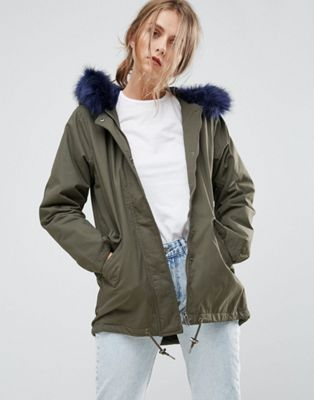 Missguided Khaki Faux Fur Lined Parka Coat at asos.com