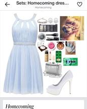 dress,homecoming dress,pretty,baby blue,nail polish,bag,shoes