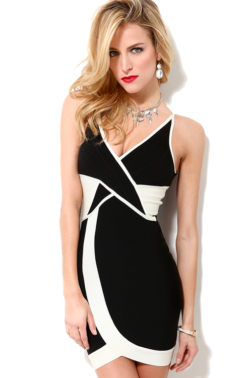 Bandage Dress in Black Ivory