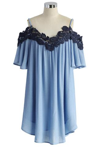 dress floral blue cold-shoulder dress
