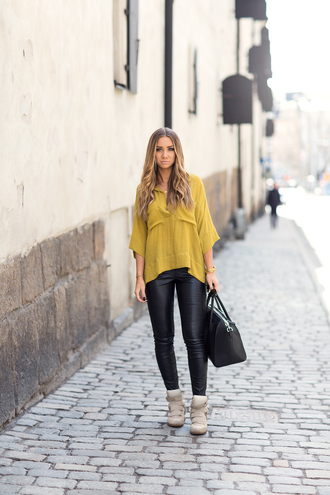 lisa olsson blogger top mustard leather leggings sneakers high top sneakers