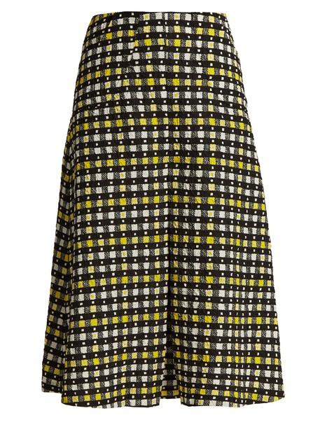 skirt pleated print yellow
