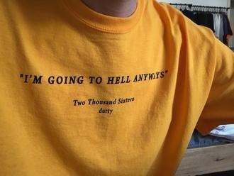 skirt tumblr yellow t-shirt yellow t-shirt slogan tee hell grunge artsy aesthetic