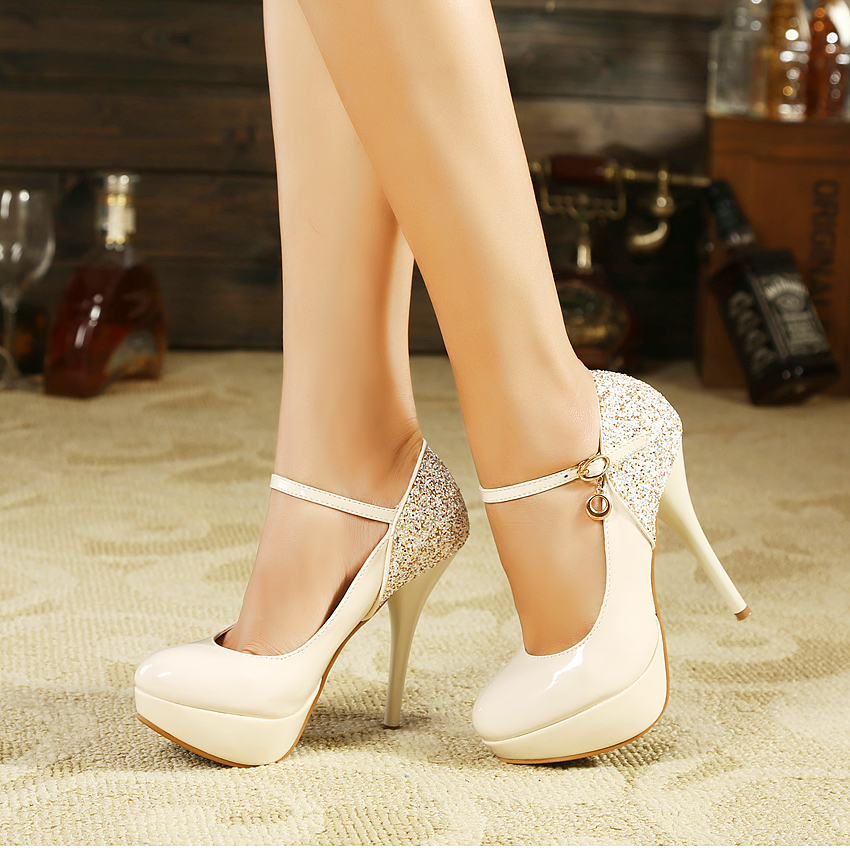 2014 new arrival  elegant OL thin high heel platform sequins women's shoes stiletto pumps for wedding dropship free shipping-inPumps from Shoes on Aliexpress.com