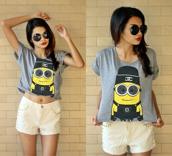 Round Oversized Sunnies, Minion Cropped Shirt, Flirt La Gold Studded White Shorts - One in a Minion  - Cherrish Feliminiano | LOOKBOOK