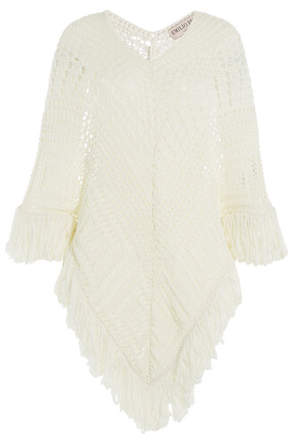 cape knit crochet white top