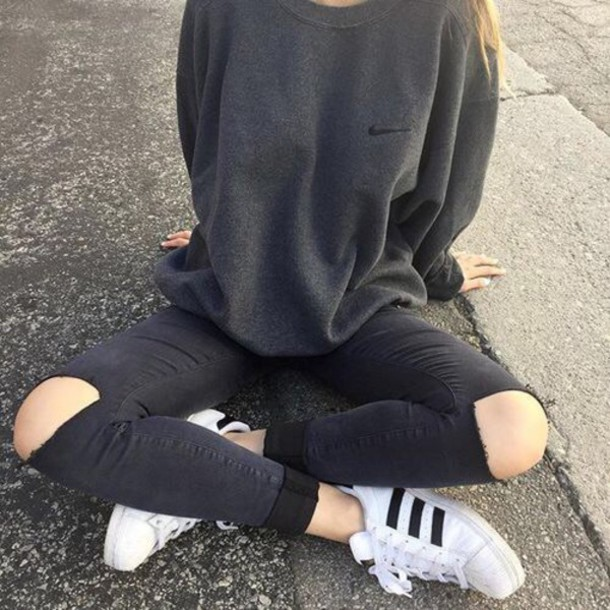 sweater nike grey grey sweater black cute cute sweater shirt charcoal gray  top nike sweater ripped