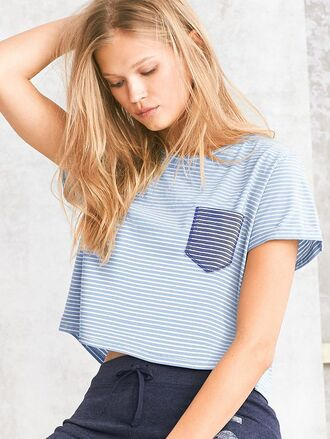 shirt t-shirt blue stripes white light blue boxy pockets striped top pocket t-shirt