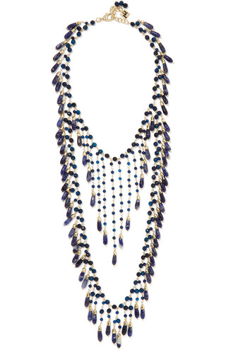 necklace gold blue jewels
