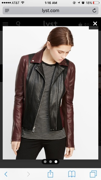 jacket burgundy red leather leather jacket colorblock fall colors fall outfits motorcycle
