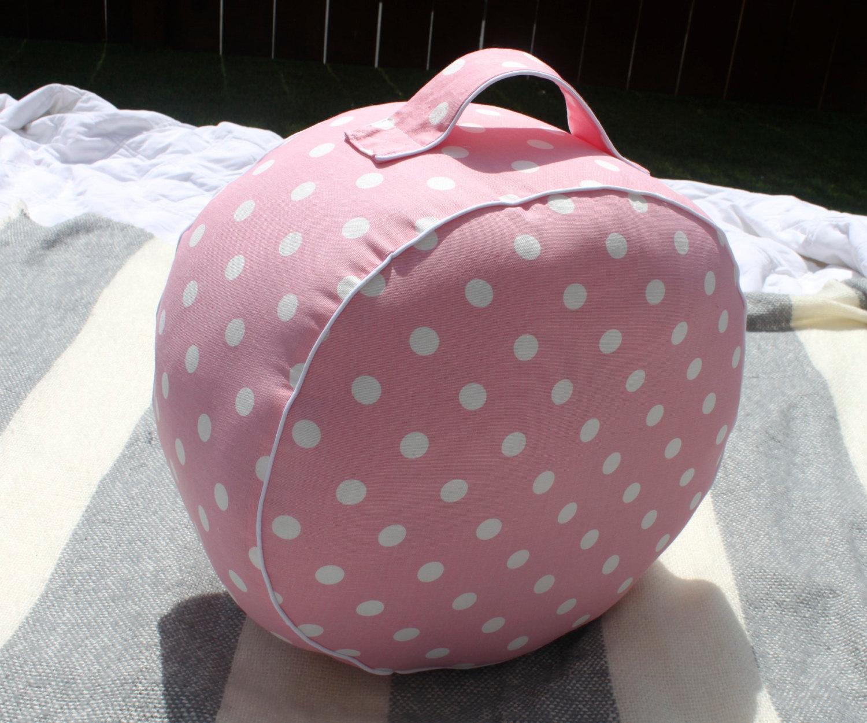 The Original Pouf Floor Cushion - Polka Dot Baby Pink White Piping