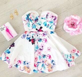 dress pink blue white dress summer dress