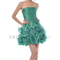 Teal organza strapless gathered rosette detail on bodice with pick-up bubbled hem short skirt bridesmaid & prom dress - s5240 - graduation dresses
