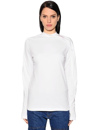 t-shirt shirt asymmetrical cotton white top