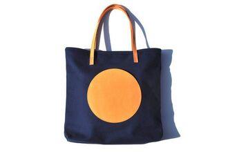 bag blue yellow circle shapes tote bag minimalist navy