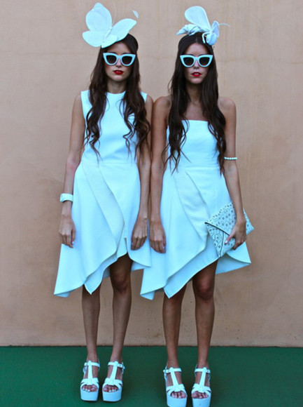 hat white sunglasses dress white dress shoes sandlas wedges red lips clothes how two live howtwolive girls tumblr blog blogger fashion bloggers fashion style jewels clutch bag purse